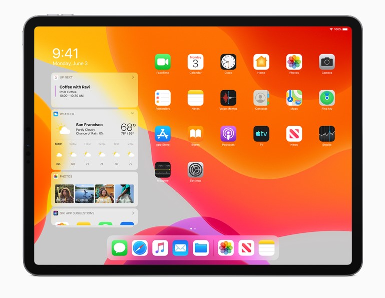 iPad OS features a new home screen